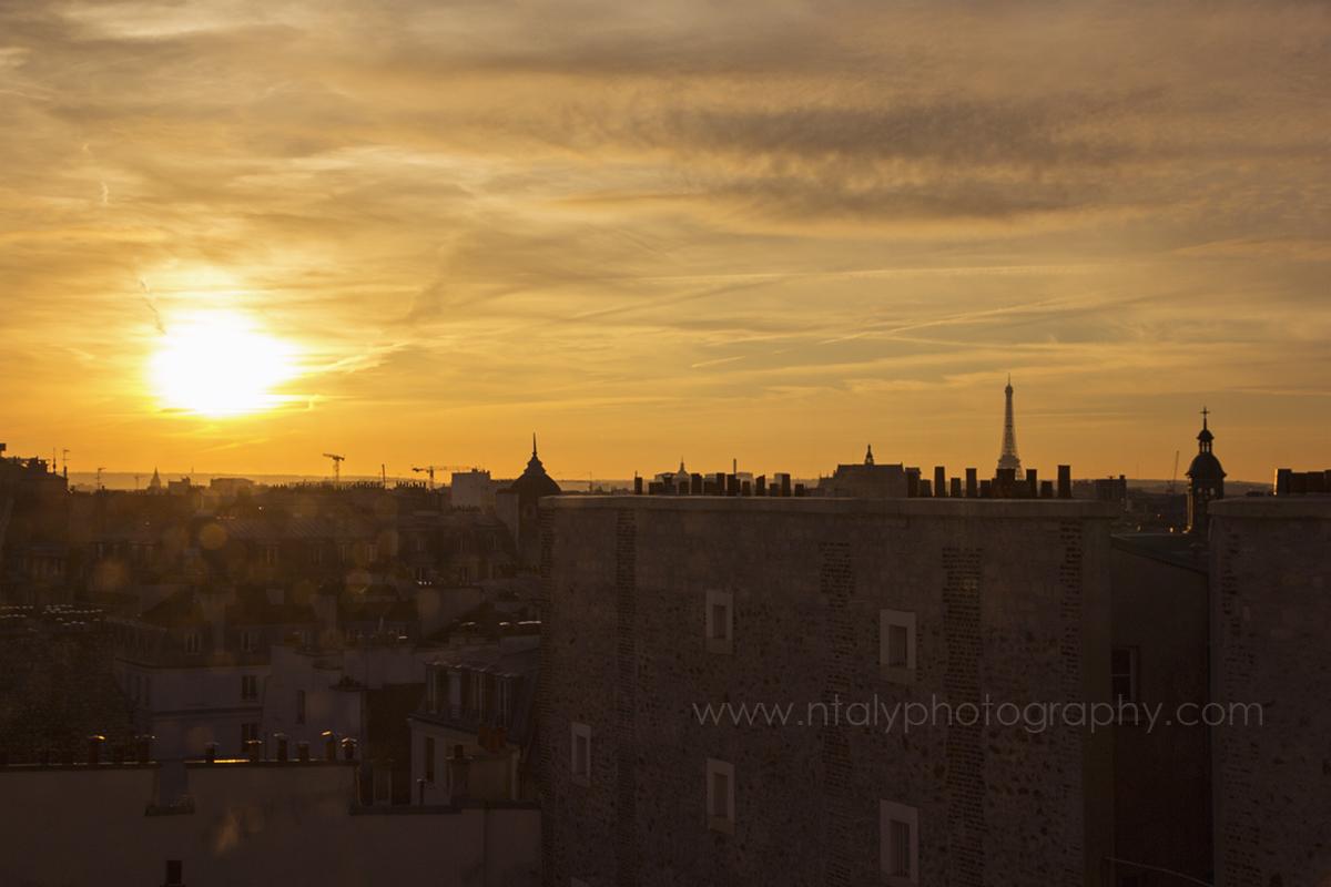 Paris ciel coucher de soleil tour eiffel