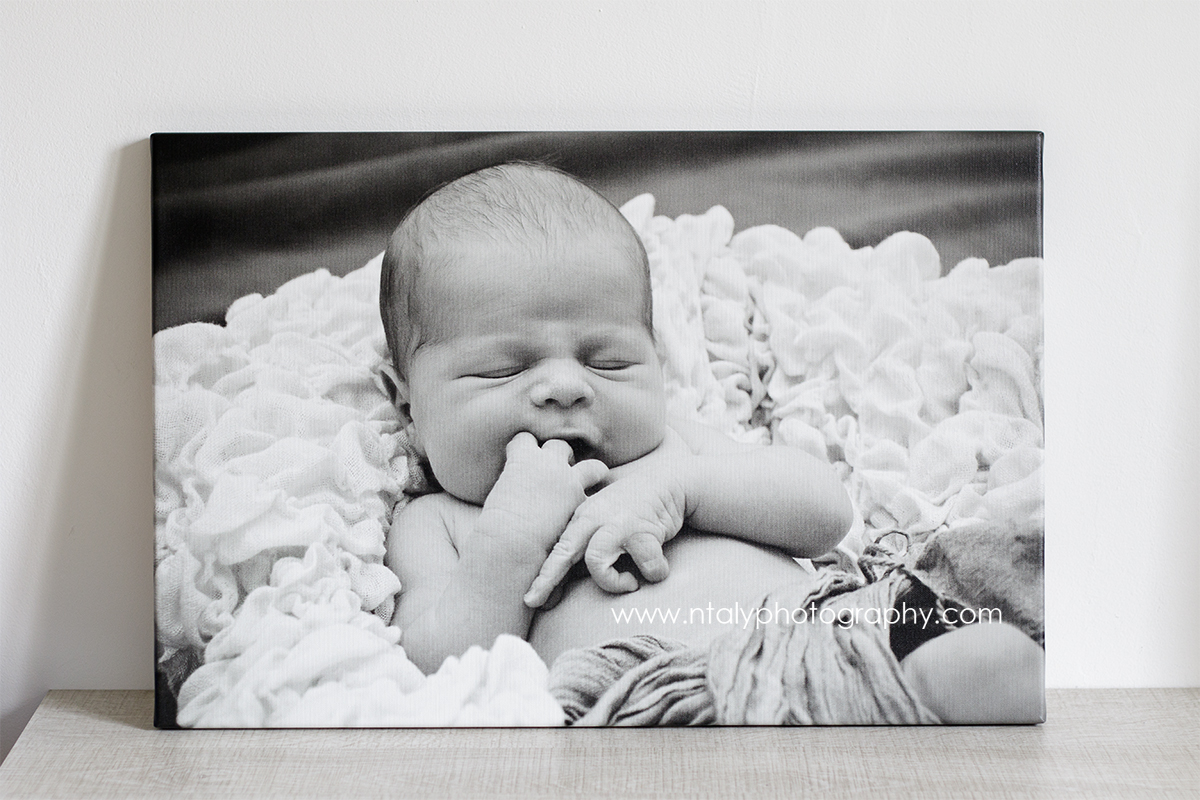 toile photo bebe noir et blanc canvas
