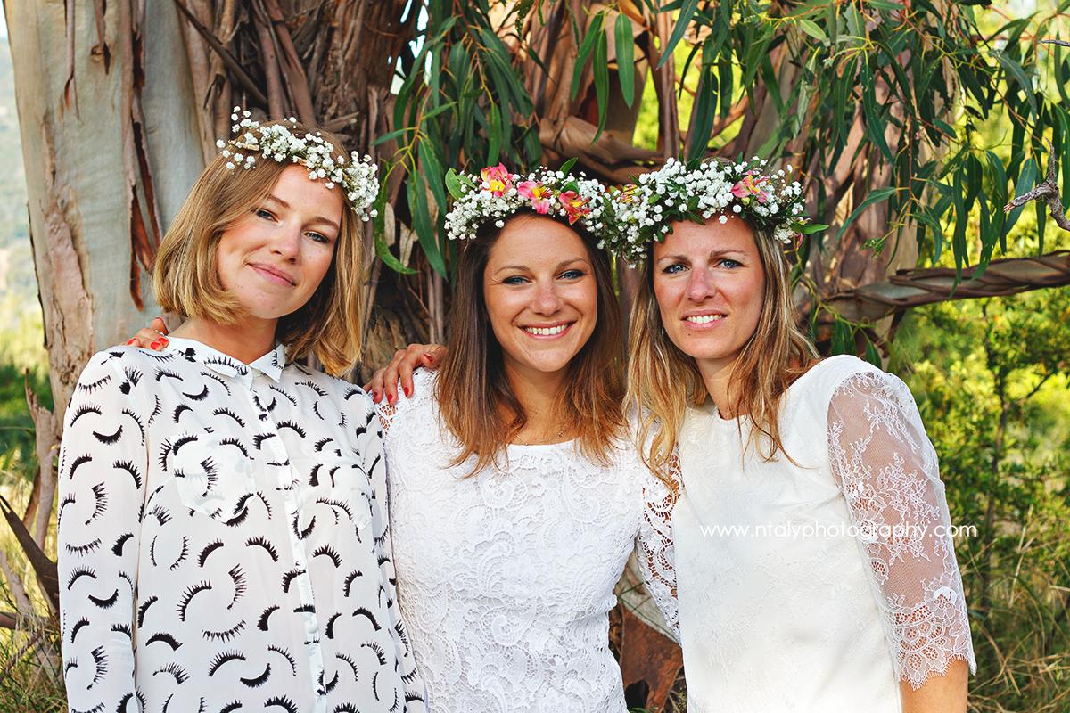 3 soeurs couronnes de fleurs campagne evjf