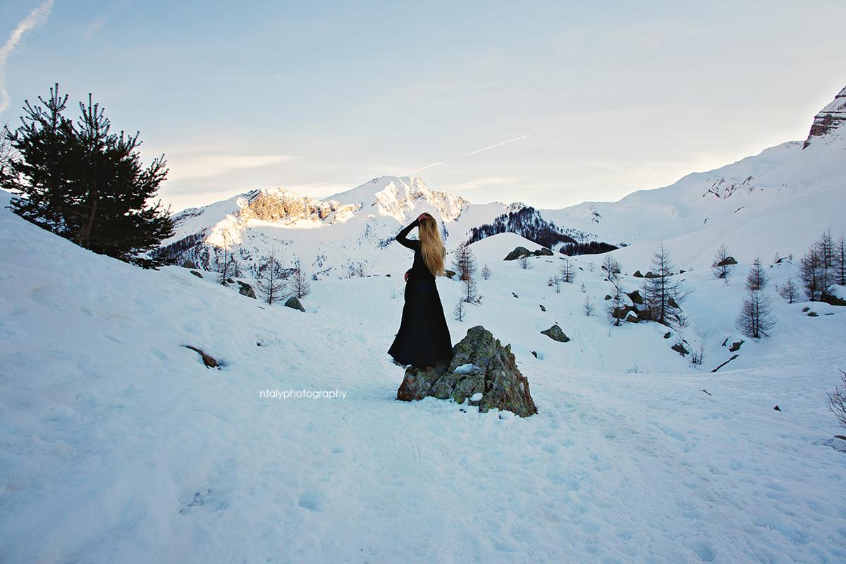 montagne hiver paysage portrait